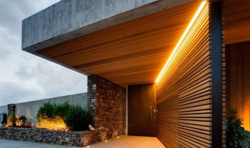 entry way with orange lighting strip