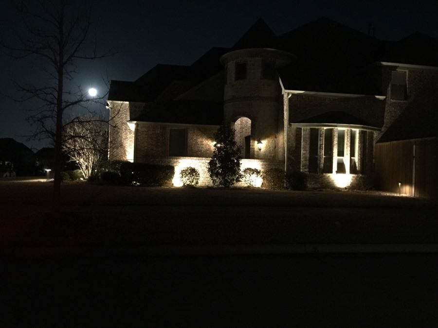 Landscape Lighting Night Curb-Side Photo