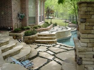Stone Decking With Grass Between
