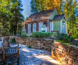 Home Garden with A Bench