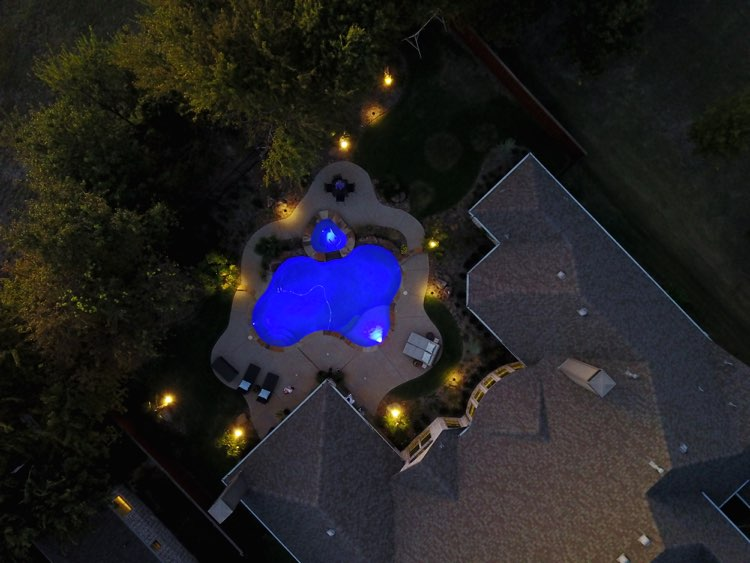 drone footage of lighting